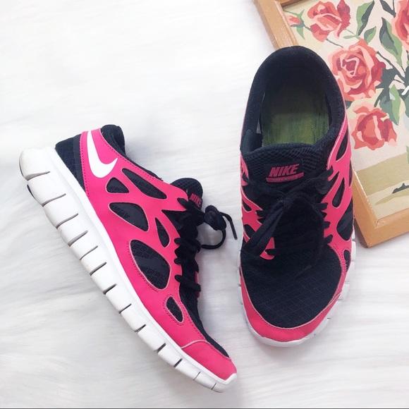 0ab53b2d0e6c Nike Free Run 2 neon pink black running sneakers. M 5c47f025aaa5b8ae82fa727e